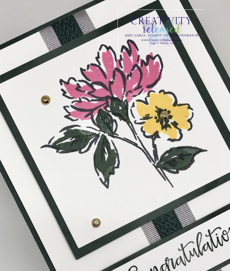 An up-close look at a card of congratulations using Hand-Penned Petals stamp set by Stampin' Up!
