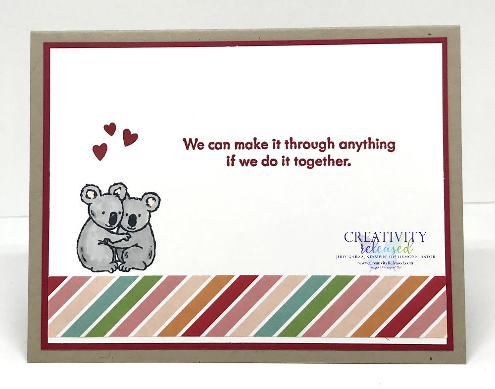"""The inside of an """"in this together"""" type card using three tags with a penguin holding a balloon on the first, a red fox on the second and, finally, a kangaroo holding a flower. All stamps and supplies are products of Stampin' Up!"""
