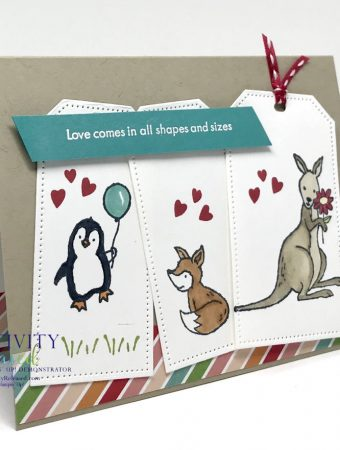 """A side view of an """"in this together"""" type card using three tags with a penguin holding a balloon on the first, a red fox on the second and, finally, a kangaroo holding a flower. All stamps and supplies are products of Stampin' Up!"""