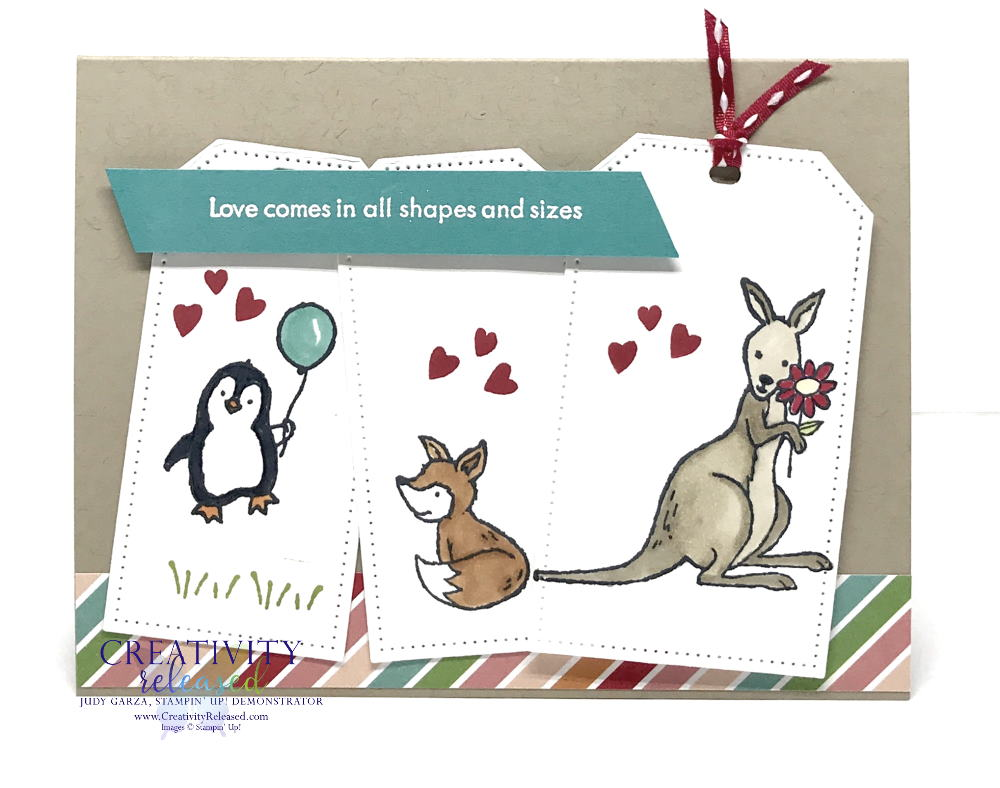 """An """"in this together"""" type card using three tags with a penguin holding a balloon on the first, a red fox on the second and, finally, a kangaroo holding a flower. All stamps and supplies are products of Stampin' Up!"""