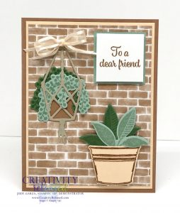 A thank you card using Stampin' Up! stamp set 'Plentiful Plants' with a Cimmamon Cider, Mint Macaron, and Pale Papaya color combination.