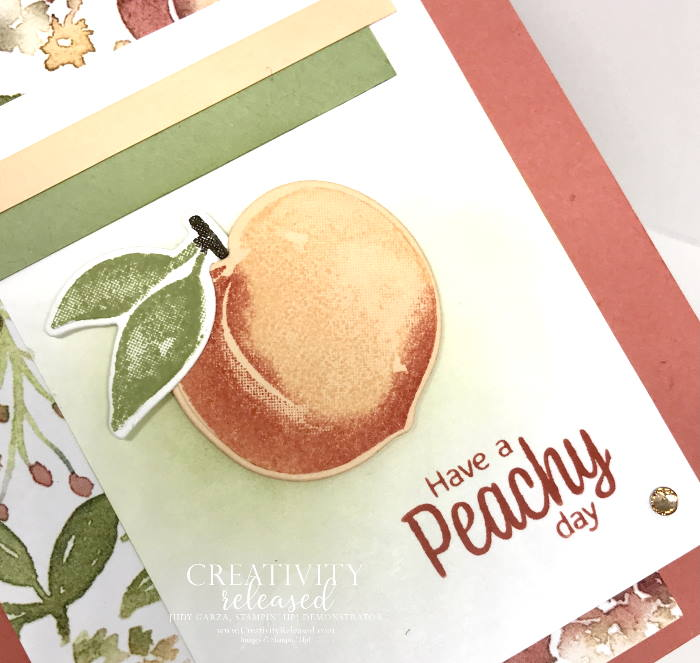 """A close up view of a summertime card for a friend. The sentiment reads """"Have a Peachy Day"""" from the stamp set Sweet As A Peach by Stampin' Up!"""