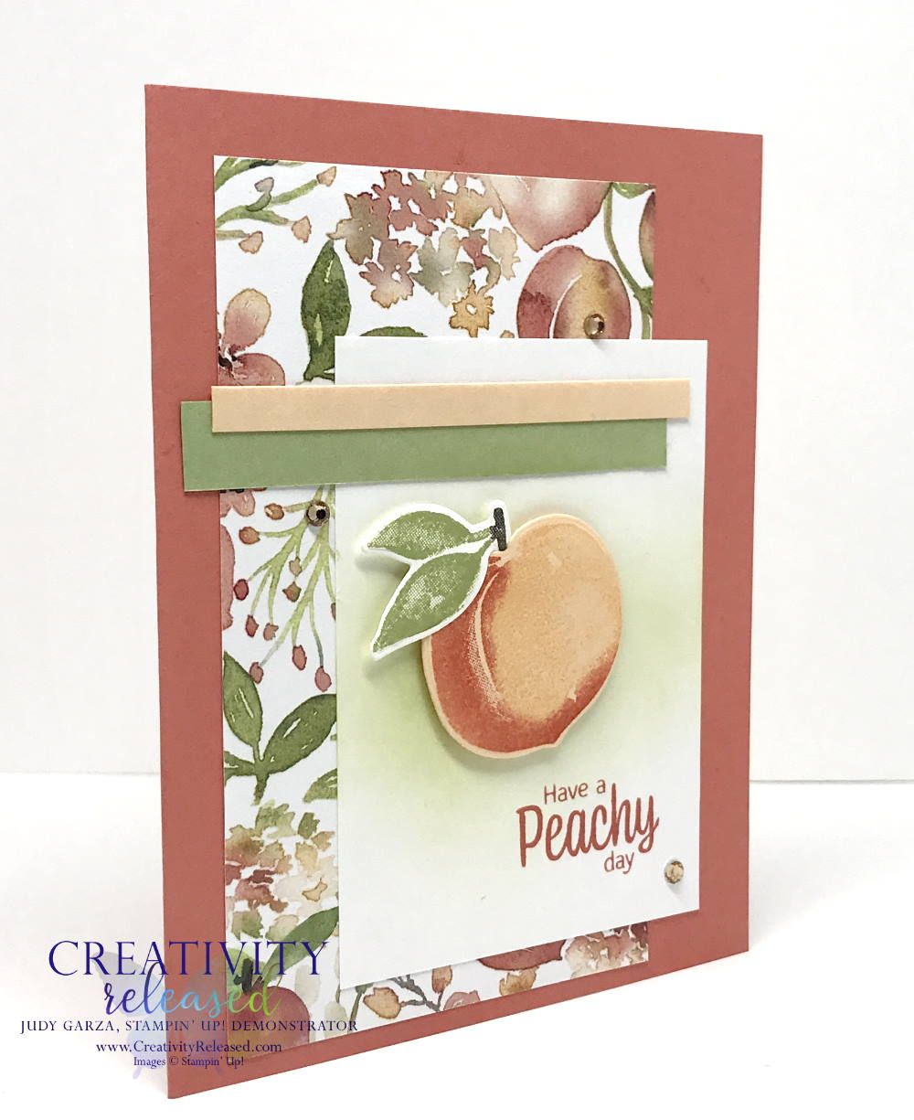 """Side view of a summertime card for a friend. The sentiment reads """"Have a Peachy Day"""" from the stamp set Sweet As A Peach by Stampin' Up!"""