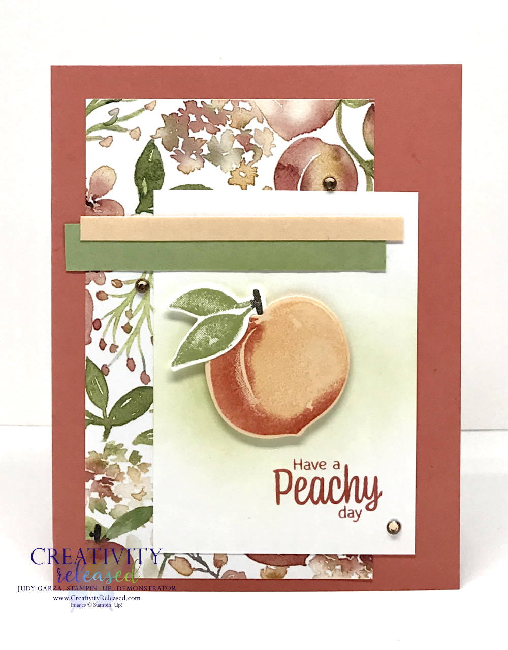 """A summertime card for a friend. The sentiment reads """"Have a Peachy Day"""" from the stamp set Sweet As A Peach by Stampin' Up!"""