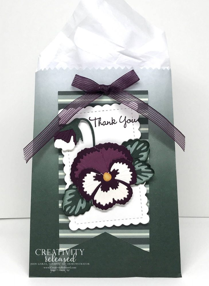 """My CCMC671 challenge using an Evening Evergreen hombre gift bag, I added a paper pansy with the sentiment """"Thank You"""" so it can be used for a small thank-you gift."""