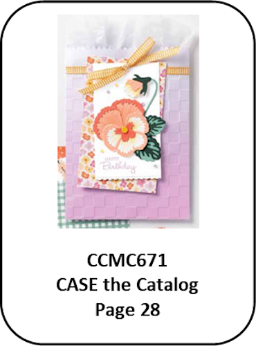 CCMC671 Thursday Challenge by Createwithconnieandmary.com. It is a gift bag decorated with a paper pansy.