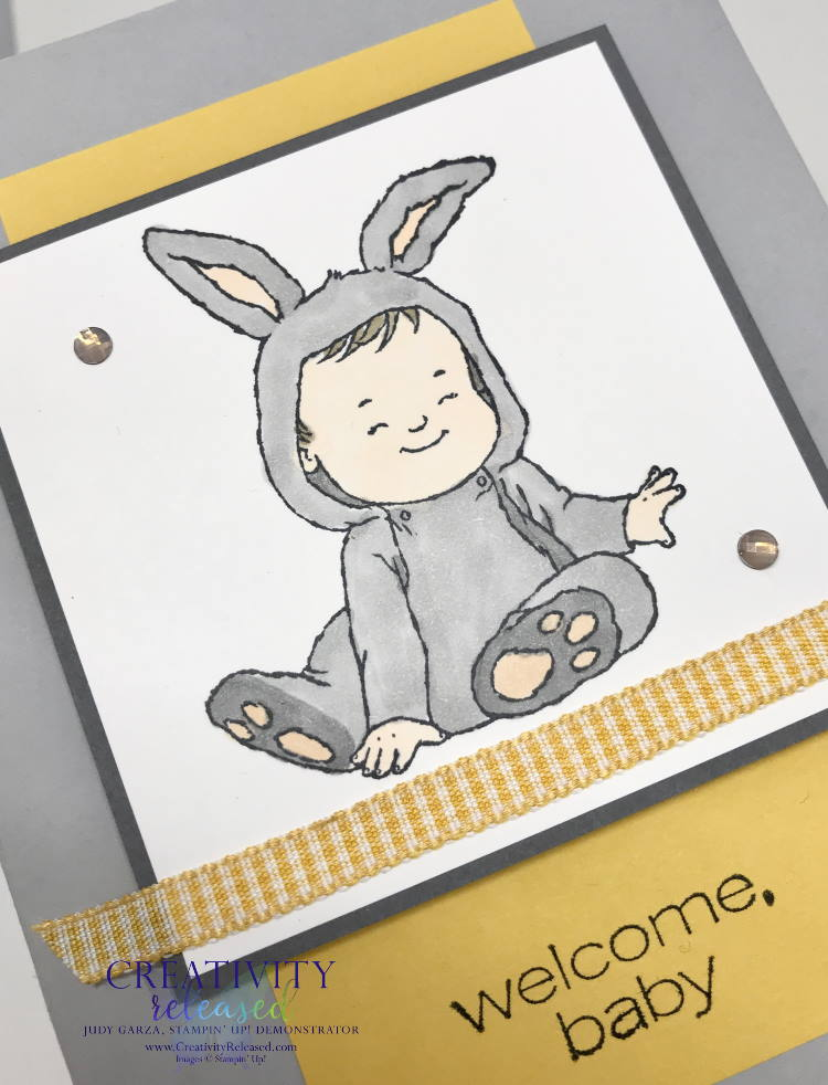 """An up-close look at a """"welcome baby"""" card made with Stampin' Up!'s stamp set, Wildly Adorable. Done in grays and yellows, this is a simple-to-make, adorable card."""