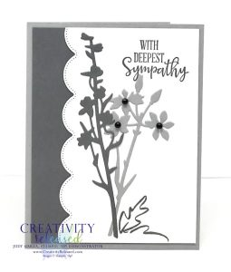 A monochromatic Sympathy card using the Meadow Dies and Peaceful Moments stamp set by Stampin' Up!