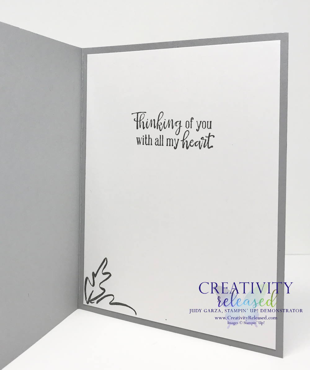 The inside of a monochromatic Sympathy card using the Meadow Dies and Peaceful Moments stamp set by Stampin' Up!