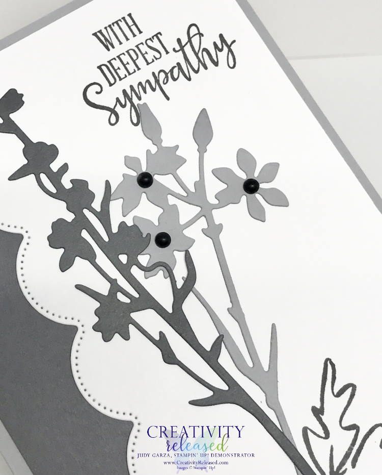An up-close look at a monochromatic Sympathy card using the Meadow Dies and Peaceful Moments stamp set by Stampin' Up!