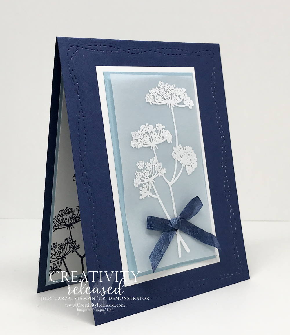 a side view of a card to send positive thoughts and feel good wishes using Night of Navy and Balmy Blue and the stamp set named Positive Thoughts by Stampin' Up!