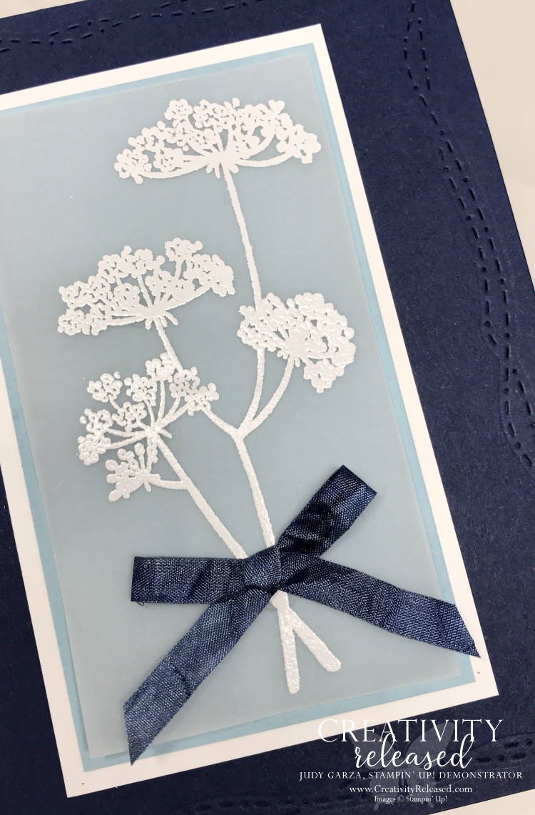 An up-close look at a card to send positive thoughts and feel good wishes using Night of Navy and Balmy Blue and the stamp set named Positive Thoughts by Stampin' Up!