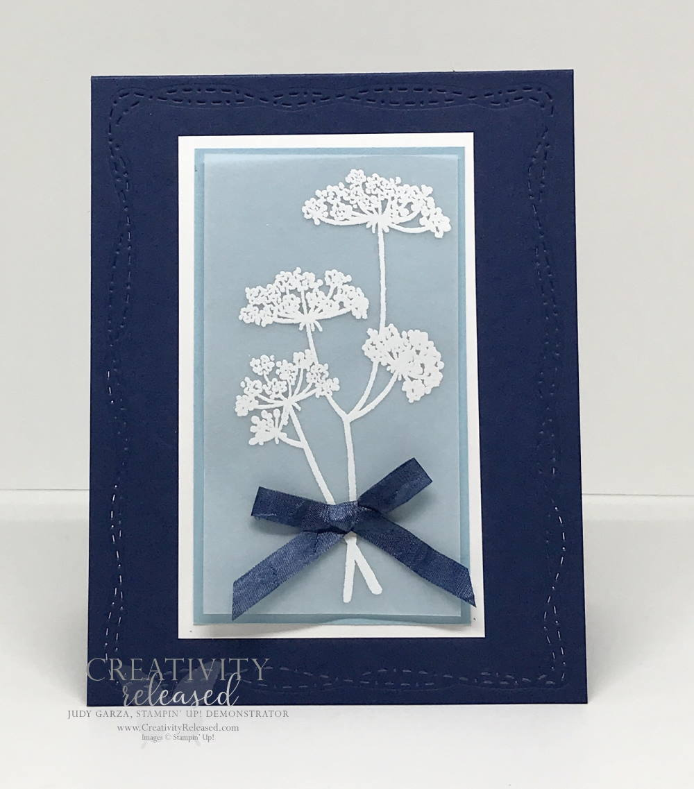 A card to send positive thoughts and feel good wishes using Night of Navy and Balmy Blue and the stamp set named Positive Thoughts by Stampin' Up!