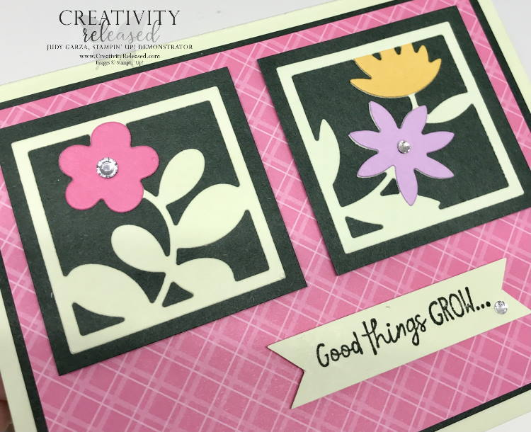 An up-close view of a birthday card using an assortment of 'In-Colors' by Stampin' Up! The card front has Square framed die-cut flowers.