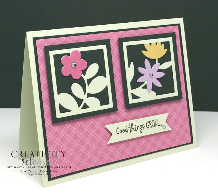 A side view of a birthday card using an assortment of 'In-Colors' by Stampin' Up! The card front has Square framed die-cut flowers.