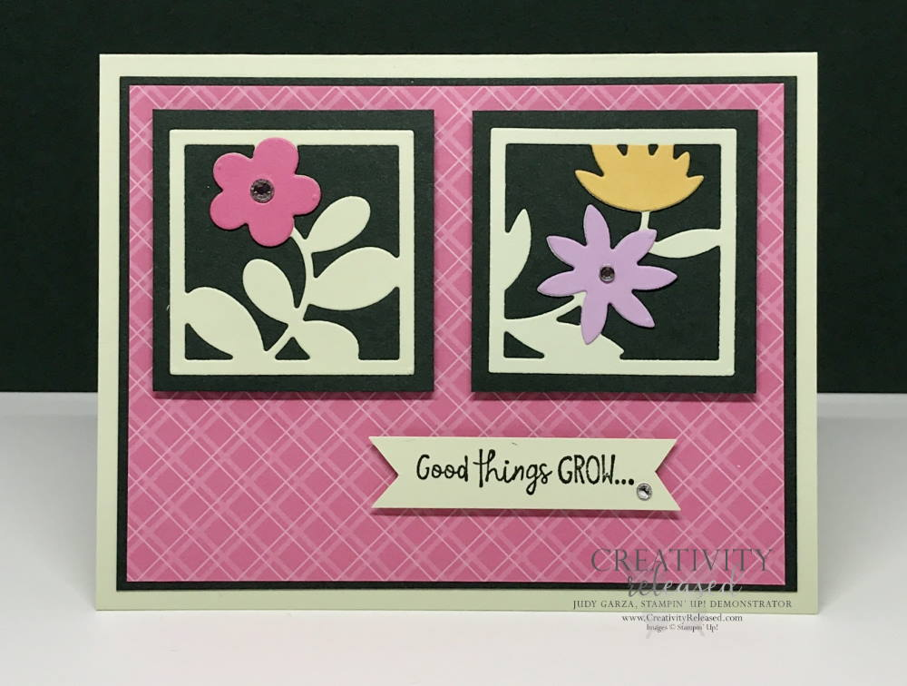 A birthday card using an assortment of 'In-Colors' by Stampin' Up! The card front has Square framed die-cut flowers.