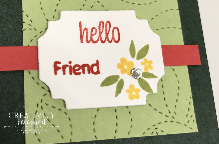 An up-close look at a green on green tone with a pop of color 'Friendship Card' using Sweet As A Peach by Stampin' Up!