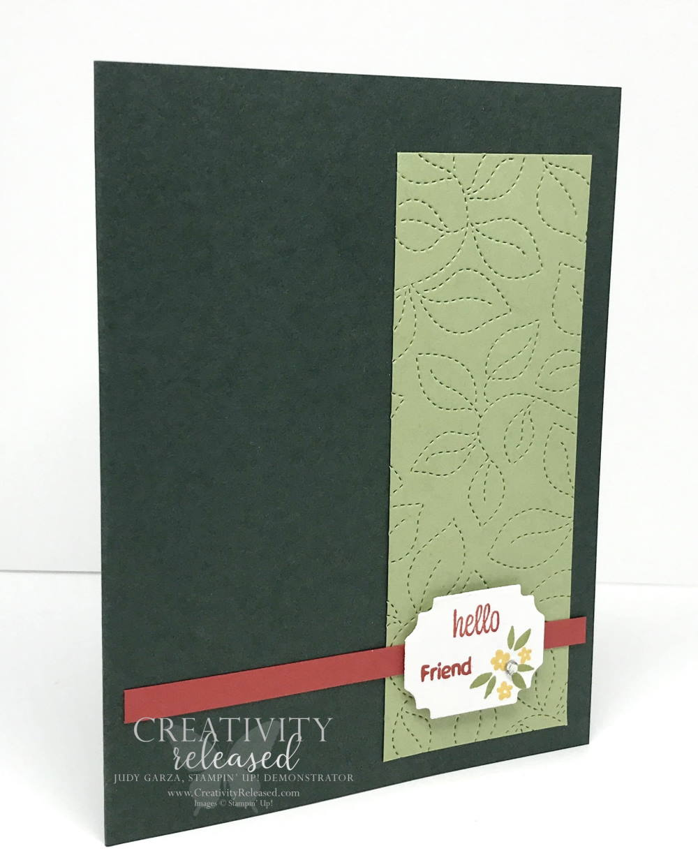 A side view of a green on green tone with a pop of color 'Friendship Card' using Sweet As A Peach by Stampin' Up!
