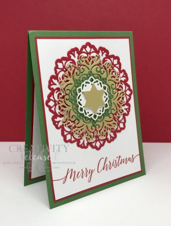 A side view of a Christmas card using the Encircled in Friendship dies in Real Red,Garden Green and Gold Foil with a gold star in the center, all products by Stampin' Up!