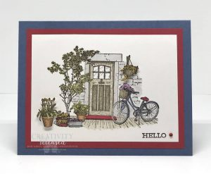 """A general greeting card using """"Hello"""" as the sentiment at the bottom of a picture perfect front door surrounded by plants and flowers. Stampin' Up! stamps and Blends used."""