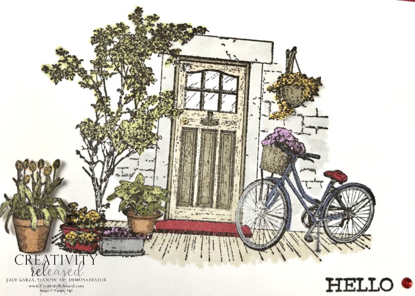 """A very close up look at the coloring of a general greeting card using """"Hello"""" as the sentiment at the bottom of a picture perfect front door surrounded by plants and flowers. Stampin' Up! stamps and Blends used."""