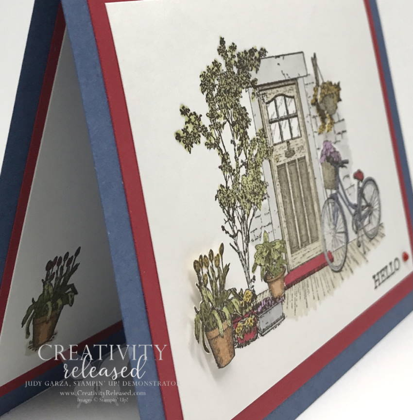"""An up-close side view of a general greeting card using """"Hello"""" as the sentiment at the bottom of a picture perfect front door surrounded by plants and flowers. Stampin' Up! stamps and Blends used."""