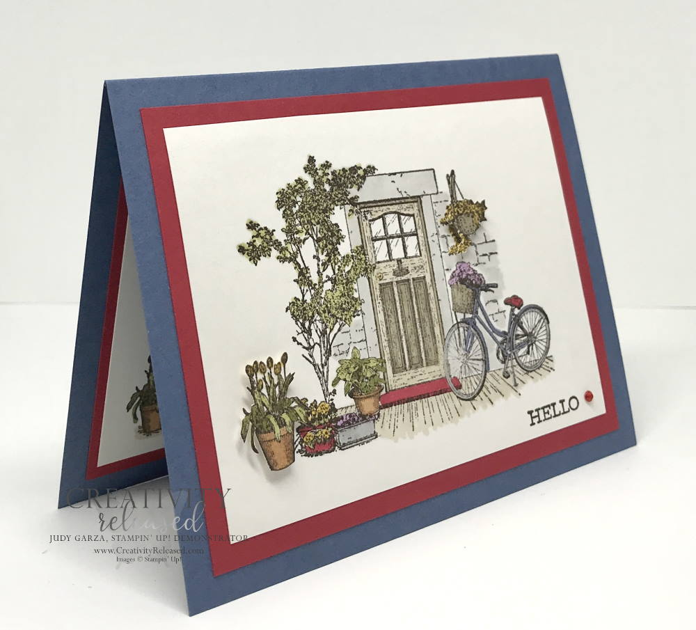 """Side view of a general greeting card using """"Hello"""" as the sentiment at the bottom of a picture-perfect front door surrounded by plants and flowers. Stampin' Up! stamps and Blends used."""