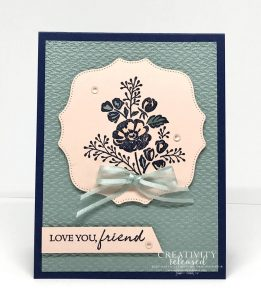 A friendship card made to meet the color challenge of Night of Navy, Petal Pink and Soft Succulent using Shaded Summer stamp set by Stampin' Up!