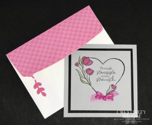 """A 4 1/4"""" card of encouragement with a matching envelope using Stampin' Up's charity set, Strong of Heart."""
