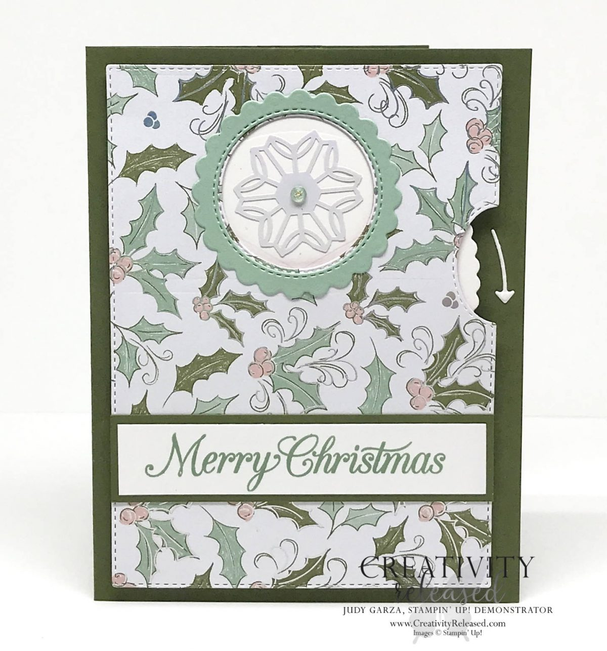 Position 1 of a Christmas card using the Whimsy & Wonder stamp set and the Give It A Whirl dies by Stampin' Up!®