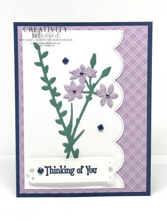 A Thinking of You card using the Meadows dies and the Scalloped Contour dies, all by Stampin' Up!