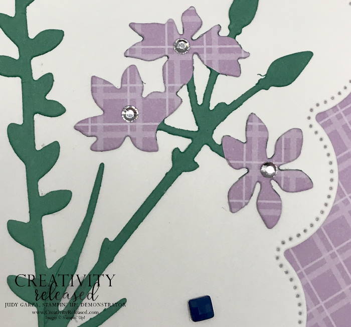 An up-close look at the Thinking of You card using the Meadows dies and the Scalloped Contour dies, all by Stampin' Up!