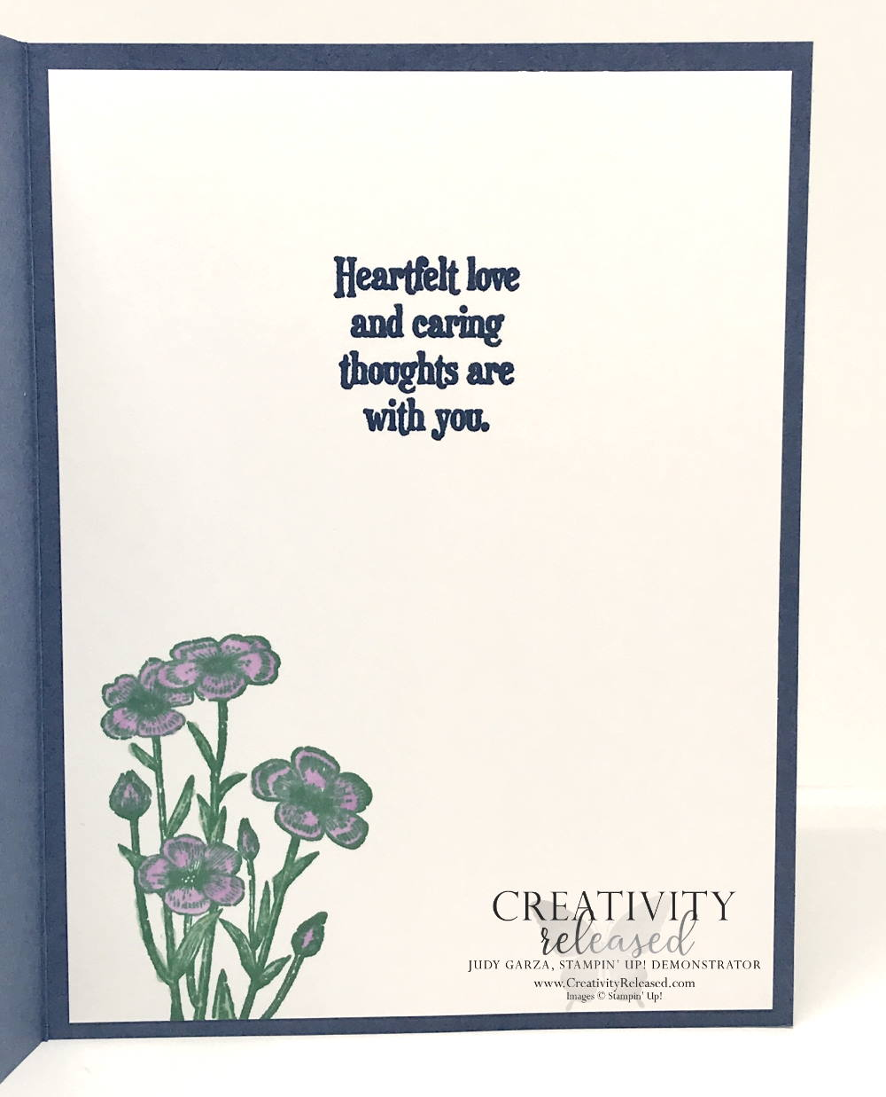 An inside view of the Thinking of You card using the Meadows dies and the Scalloped Contour dies, all by Stampin' Up!