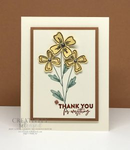 A thank-you card using the CCMC682 Color challenge using Flowers of Friendship stamp set by Stampin' Up!