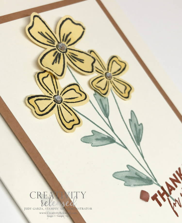 An up-close look at a thank-you card using the CCMC682 Color challenge using Flowers of Friendship stamp set by Stampin' Up!