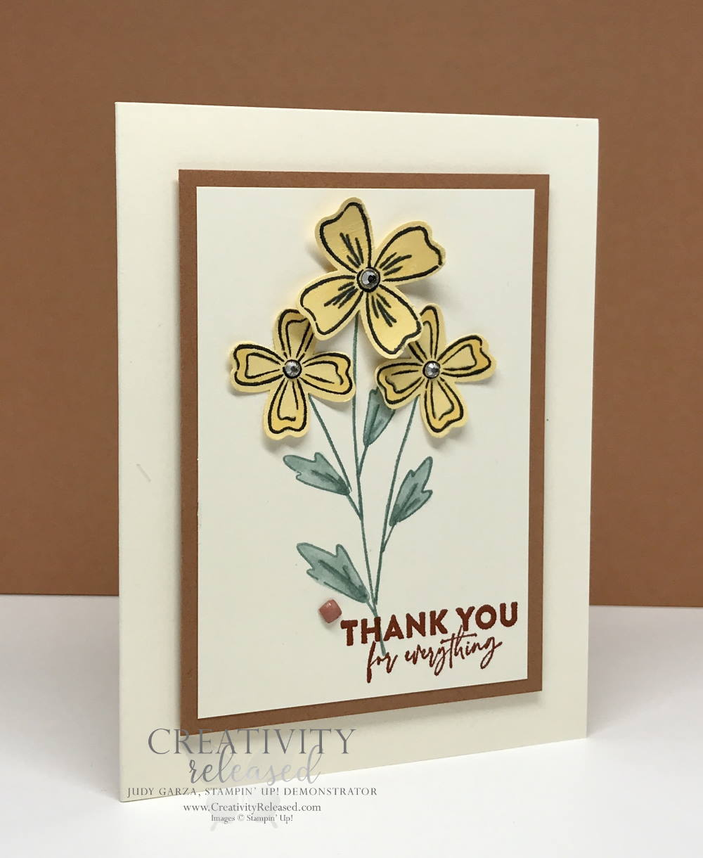 Side view of a thank-you card using the CCMC682 Color challenge using Flowers of Friendship stamp set by Stampin' Up!