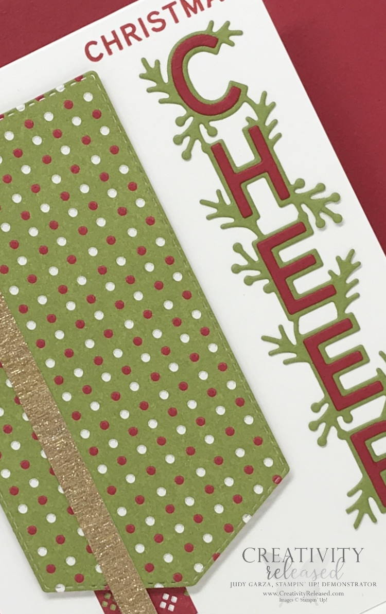 An Up-close look at a Christmas card using the Words of Cheer stamp set by Stampin' Up! for the CCMC683 challenge.