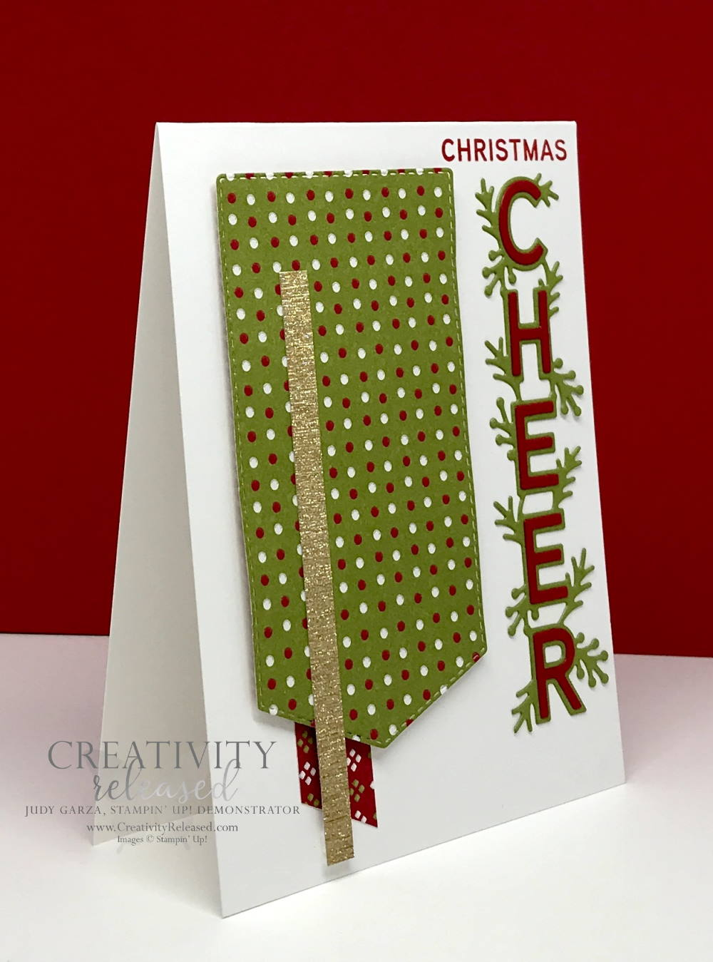 Side view of a Christmas card using the Words of Cheer stamp set by Stampin' Up! for the CCMC683 challenge.