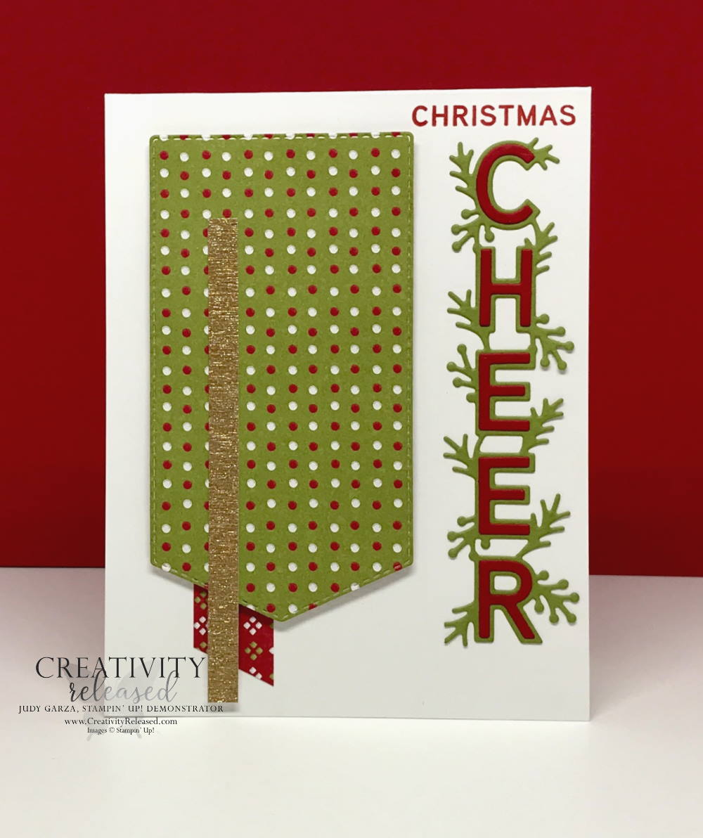 A Christmas card using the Words of Cheer stamp set by Stampin' Up! for the CCMC683 challenge.