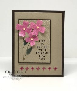 A 'Life is Better With Friends' card to complete the CCMC684 color challenge using Polished Pink Vellum and the Flowers of Friendship stamp set by Stampin' Up!