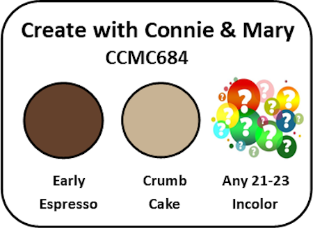 Display of the color challenge, Early Espresso, Crumb Cake and your choice of one of the 2021-2023 In-Colors