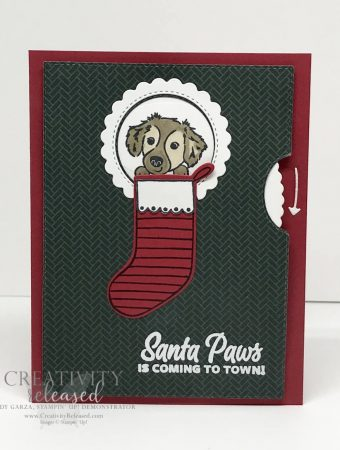 A Give It A Whirl card with a dog in the stocking. Dies by Stampin' Up!