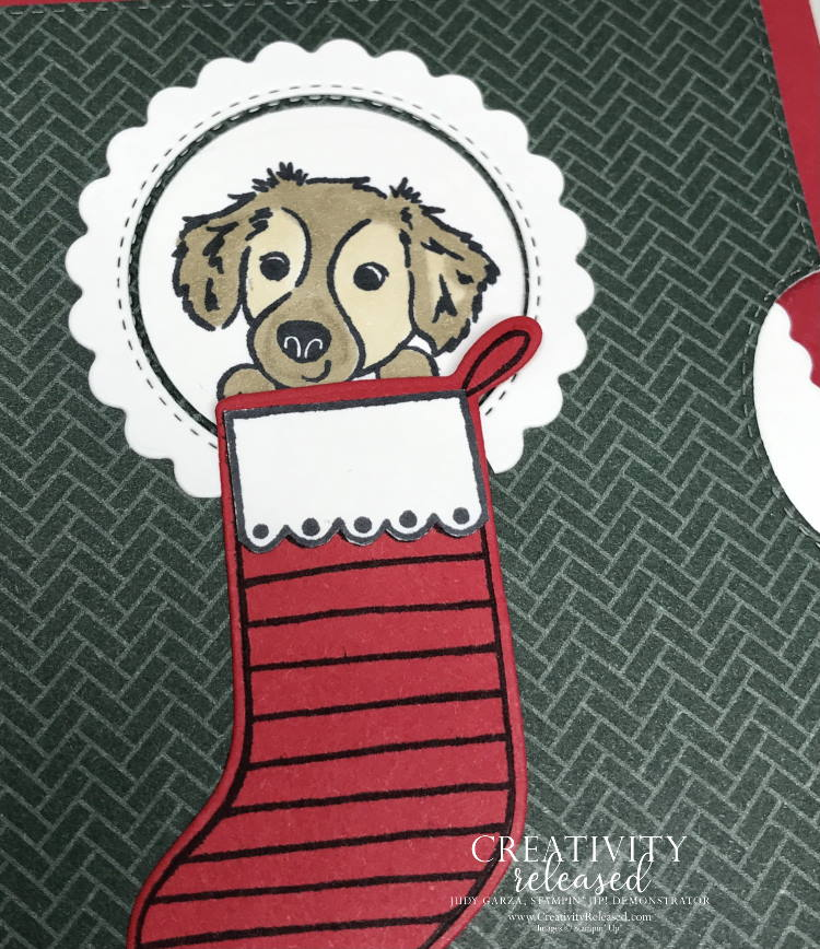 An up-close look at a Give It A Whirl card with a dog in the stocking. Dies by Stampin' Up!
