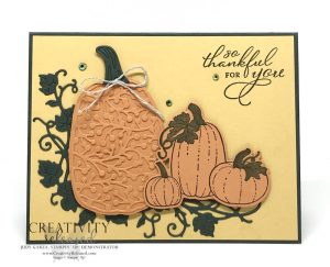 Three pumpkins sitting in green leafy vine with a thankful sentiment. Stamps by Stampin' Up!